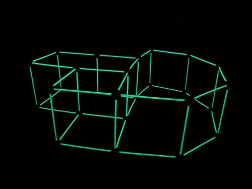 31G4hm+Q83L. AC  - Funphix 77 Pc Fort Building Kit with Glow in The Dark Sticks + Green Sheet - Fun Construction Toy for Age 5+ Creative Play - Encourages Imagination & Teamwork (Blue and Green Balls)