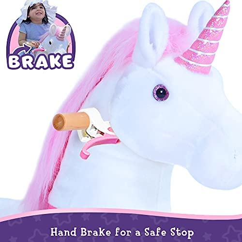"""419RqY+16PL. AC  - PonyCycle Authentic Unicorn Ride on Toys for Girls (with Brake/ 31.1"""" Height/ Small for Age 3-5) Pink Unicorn Kids Ride on Toys Plush Walking Unicorn Ux302"""