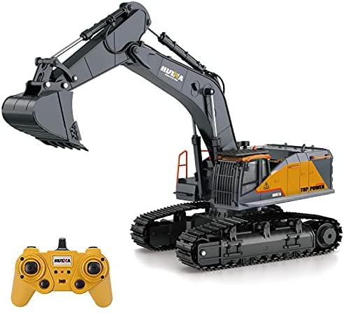 419jSPufmRS. AC  - Fistone RC Excavator with Alloy Bucket, 1/14 Scale 22 Channel Remote Control Construction Vehicles Truck Die-cast Engineering Excavator Toys for Kids and Adults