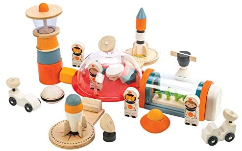 41OvVxDpJzL. AC  - Life on Mars Playset - S.T.E.M. Toy - 16 Pc Wooden Outer Space Themed Playset - Made with Premium Materials and Craftsmanship - Create Interest in Science and Creative Role Play - For Children 3+
