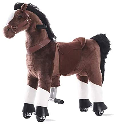 41QjhrZcsEL. AC  - Gidygo Kids Riding on Toy Walking Rocking Horse Plush Animal Brown Pony for Children for 3-6 Years Old