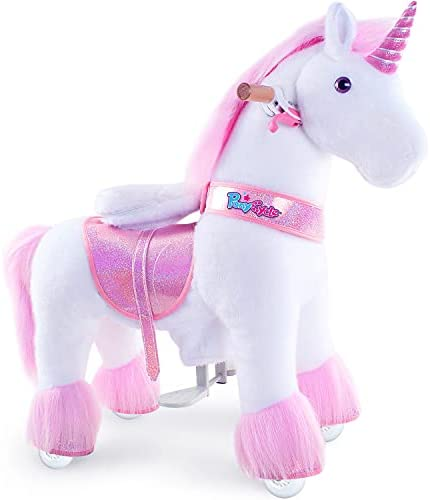 """41SCUH5FGML. AC  - PonyCycle Authentic Unicorn Ride on Toys for Girls (with Brake/ 31.1"""" Height/ Small for Age 3-5) Pink Unicorn Kids Ride on Toys Plush Walking Unicorn Ux302"""