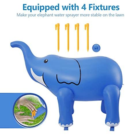 41Z5Y oExsL. AC  - DG-Direct Water Sprinkler for Kids, 6 Feet Giant Elephant Inflatable Sprinkler, Summer Toys Swimming Party Pool Play Sprayer for Toddler Boys Girls Outdoor Yard Lawn Beach-Blue