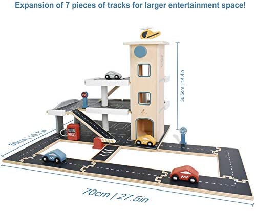 41Za7HsQPvL. AC  - PairPear Wooden Parking Garage Race Track with Toy Vehicles Large Service Station with Elevator Car Wash Petrol Pump Helicopter playset for Kids 3+