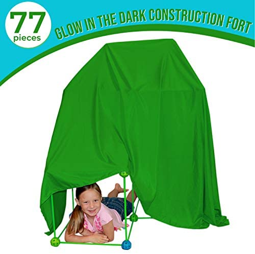41bxgxJWJsL. AC  - Funphix 77 Pc Fort Building Kit with Glow in The Dark Sticks + Green Sheet - Fun Construction Toy for Age 5+ Creative Play - Encourages Imagination & Teamwork (Blue and Green Balls)
