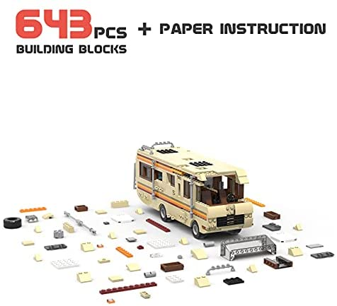 41hok8XKL S. AC  - Breaking Bad RV Building Blocks, Creative House Car Building Bricks Kit Model for Gifts, Educational DIY Building Set Toy for Decoration Party Birthday Festival and Holiday, New 2021(643 PCS)