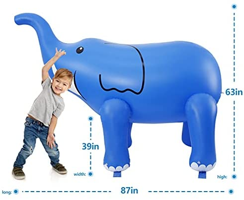 41jGuqfGdhS. AC  - DG-Direct Water Sprinkler for Kids, 6 Feet Giant Elephant Inflatable Sprinkler, Summer Toys Swimming Party Pool Play Sprayer for Toddler Boys Girls Outdoor Yard Lawn Beach-Blue