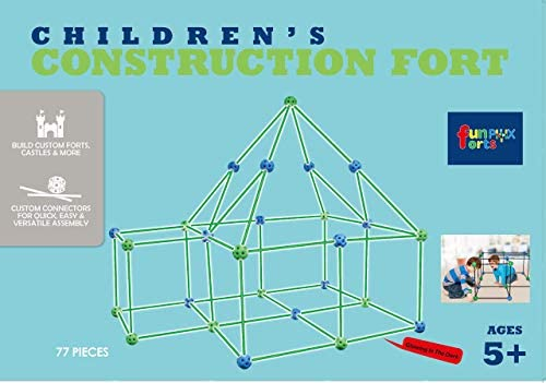 41kuaLBYQgL. AC  - Funphix 77 Pc Fort Building Kit with Glow in The Dark Sticks + Green Sheet - Fun Construction Toy for Age 5+ Creative Play - Encourages Imagination & Teamwork (Blue and Green Balls)