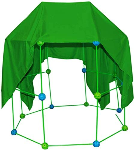 41mP1kbAQ+L. AC  - Funphix 77 Pc Fort Building Kit with Glow in The Dark Sticks + Green Sheet - Fun Construction Toy for Age 5+ Creative Play - Encourages Imagination & Teamwork (Blue and Green Balls)