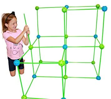 41oI7fqAeVL. AC  - Funphix 77 Pc Fort Building Kit with Glow in The Dark Sticks + Green Sheet - Fun Construction Toy for Age 5+ Creative Play - Encourages Imagination & Teamwork (Blue and Green Balls)