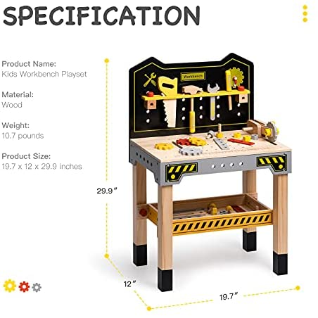41qIMtAXvoS. AC  - ROBUD Wooden Workbench for Kids Tool Bench Table Construction Tools Preschool Toy Workshop Pretend Play Work Bench for Toddlers