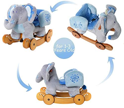 41teD+SSQTL. AC  - labebe - Baby Rocking Horse, Plush Rocking Animal, Toddler/Baby Wooden Rocker Toy for Nursery, Ride on Toy for Girl&Boy 1-3 Years, 2 in 1 Rocking Elephant Blue with Wheel, Kid Riding Horse Toys