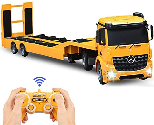 41zk8MokOEL. AC  - DOUBLE E Mercedes-Benz Licensed RC Tow Truck Detachable Flatbed Semi Trailer Engineering Tractor Remote Control Trailer Truck Electronics Hobby Toy with Sound and Lights