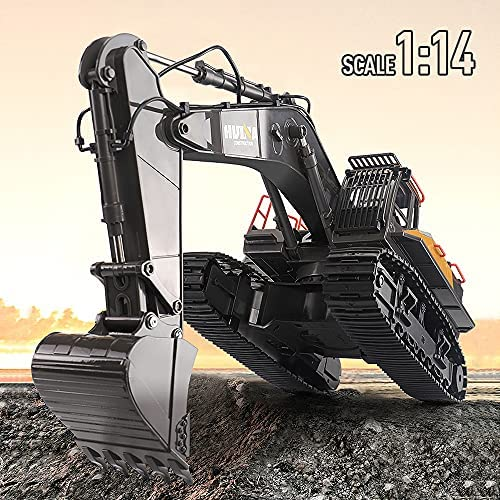 51 86JCHqYS. AC  - Fistone RC Excavator with Alloy Bucket, 1/14 Scale 22 Channel Remote Control Construction Vehicles Truck Die-cast Engineering Excavator Toys for Kids and Adults