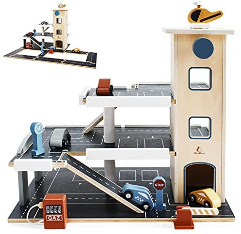 512dRn8EaxS. AC  - PairPear Wooden Parking Garage Race Track with Toy Vehicles Large Service Station with Elevator Car Wash Petrol Pump Helicopter playset for Kids 3+