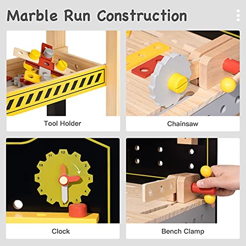 512z4NHRVTS. AC  - ROBUD Wooden Workbench for Kids Tool Bench Table Construction Tools Preschool Toy Workshop Pretend Play Work Bench for Toddlers