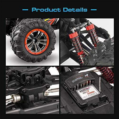 515BNmUDWyL. AC  - Hosim Large Size 1:10 Scale High Speed 46km/h 4WD 2.4Ghz Remote Control Truck 9125,Radio Controlled Off-road RC Car Electronic Monster Truck R/C RTR Hobby Grade Cross-country Car (Black)