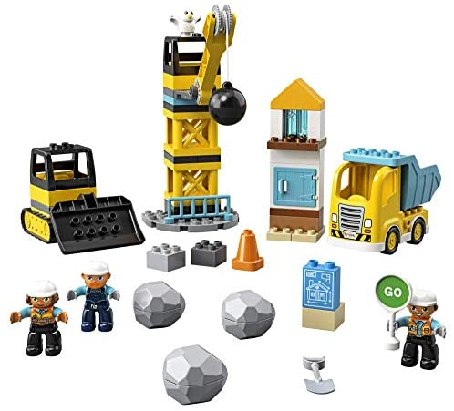 515ImDwY UL. AC  - LEGO DUPLO Construction Wrecking Ball Demolition 10932 Exclusive Toy for Preschool Kids; Building and Imaginative Play with Construction Vehicles; Great for Toddler Development, New 2020 (56 Pieces)