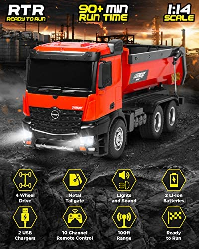 515qu pWcpL. AC  - 1:14 Scale Large Remote Control Dump Truck for Boys and Adults – Compatible with Excavators RC Construction Vehicles - 10 Channel Full Functional – Metal and Plastic Parts – 2 Batteries & 2 Chargers