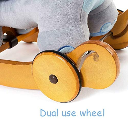 5164wYfQpzL. AC  - labebe - Baby Rocking Horse, Plush Rocking Animal, Toddler/Baby Wooden Rocker Toy for Nursery, Ride on Toy for Girl&Boy 1-3 Years, 2 in 1 Rocking Elephant Blue with Wheel, Kid Riding Horse Toys
