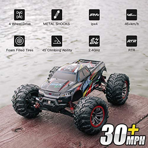 517 e+OUeoL. AC  - Hosim Large Size 1:10 Scale High Speed 46km/h 4WD 2.4Ghz Remote Control Truck 9125,Radio Controlled Off-road RC Car Electronic Monster Truck R/C RTR Hobby Grade Cross-country Car (Black)