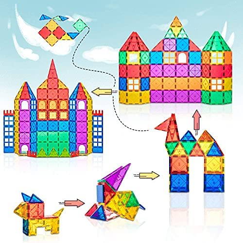 519x88KX9xS. AC  - Magnet Toys Compatible Magnetic Tiles Mega Pack with Ferris Wheel and Cars - Magnetic Blocks STEM Learning Building Construction Toddler Kids Toys for 3+ Year Old Boys and Girls