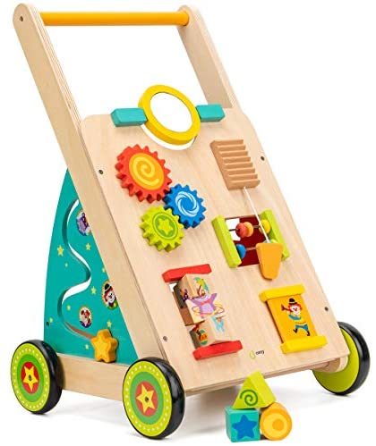 51CDhIy y+L. AC  - cossy Wooden Baby Learning Walker Toddler Toys for 18 Months (Updated Version)