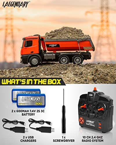 51CEktCVdPL. AC  - 1:14 Scale Large Remote Control Dump Truck for Boys and Adults – Compatible with Excavators RC Construction Vehicles - 10 Channel Full Functional – Metal and Plastic Parts – 2 Batteries & 2 Chargers