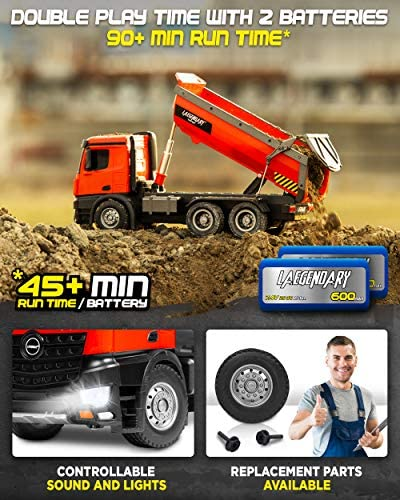 51Cfp9IQXTL. AC  - 1:14 Scale Large Remote Control Dump Truck for Boys and Adults – Compatible with Excavators RC Construction Vehicles - 10 Channel Full Functional – Metal and Plastic Parts – 2 Batteries & 2 Chargers