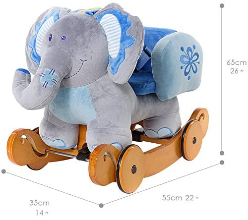 51G3WAsiJrL. AC  - labebe - Baby Rocking Horse, Plush Rocking Animal, Toddler/Baby Wooden Rocker Toy for Nursery, Ride on Toy for Girl&Boy 1-3 Years, 2 in 1 Rocking Elephant Blue with Wheel, Kid Riding Horse Toys
