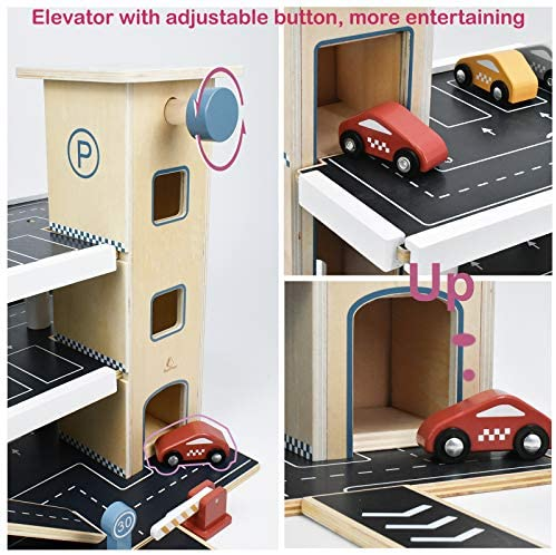 51GfZ18GJbL. AC  - PairPear Wooden Parking Garage Race Track with Toy Vehicles Large Service Station with Elevator Car Wash Petrol Pump Helicopter playset for Kids 3+