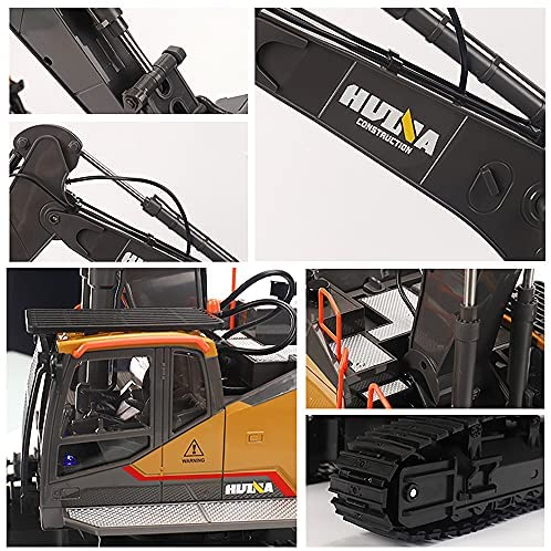 51HuIJ023tS. AC  - Fistone RC Excavator with Alloy Bucket, 1/14 Scale 22 Channel Remote Control Construction Vehicles Truck Die-cast Engineering Excavator Toys for Kids and Adults