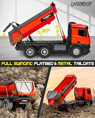 51MBUo2Y2FL. AC  - 1:14 Scale Large Remote Control Dump Truck for Boys and Adults – Compatible with Excavators RC Construction Vehicles - 10 Channel Full Functional – Metal and Plastic Parts – 2 Batteries & 2 Chargers