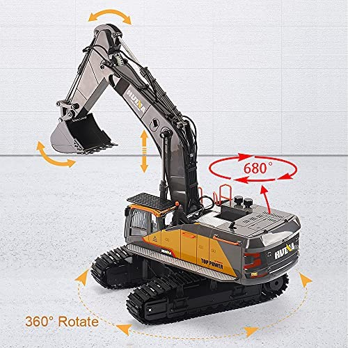 51Ms8s+WQ2S. AC  - Fistone RC Excavator with Alloy Bucket, 1/14 Scale 22 Channel Remote Control Construction Vehicles Truck Die-cast Engineering Excavator Toys for Kids and Adults