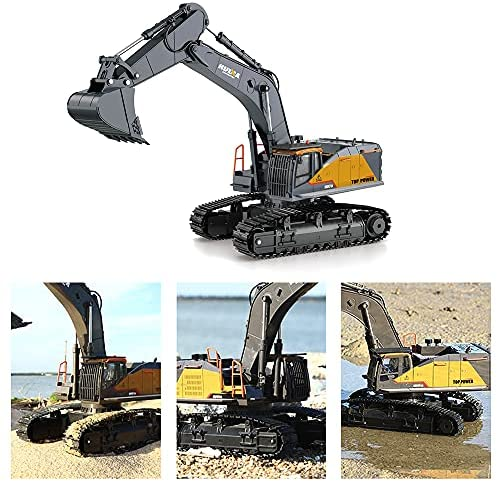 51NcRK8pT6S. AC  - Fistone RC Excavator with Alloy Bucket, 1/14 Scale 22 Channel Remote Control Construction Vehicles Truck Die-cast Engineering Excavator Toys for Kids and Adults