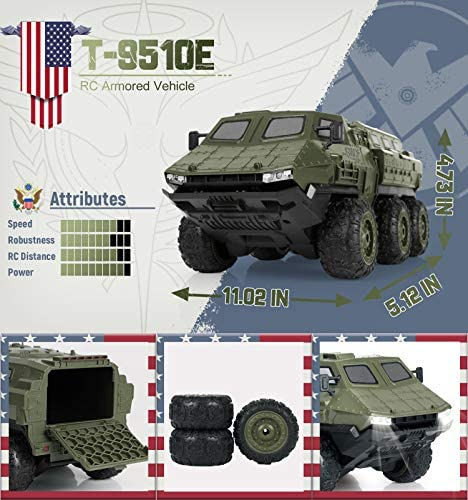51Qvl7qB1SL. AC  - RC Cars, 1/16 Scale RC Military Truck, 6WD 2.4GHz 98 Foot RC Distance, Remote Control Army Armored Car with 2 Batteries for 120 Min Play, All-Terrain Off-Road Army Truck for Adults Kids Boys