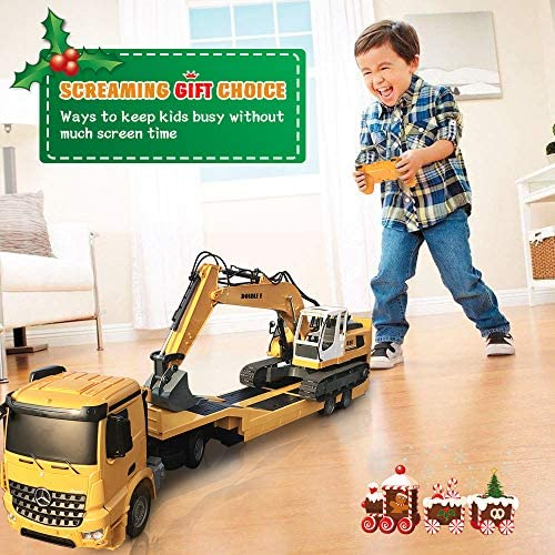 51UJA86XVTL. AC  - DOUBLE E Mercedes-Benz Licensed RC Tow Truck Detachable Flatbed Semi Trailer Engineering Tractor Remote Control Trailer Truck Electronics Hobby Toy with Sound and Lights