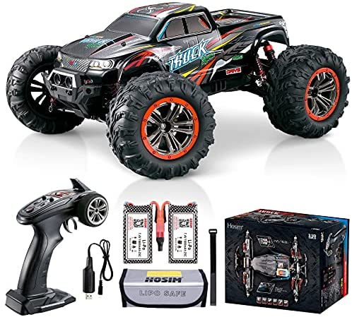 51Vy3JUWxPS. AC  - Hosim Large Size 1:10 Scale High Speed 46km/h 4WD 2.4Ghz Remote Control Truck 9125,Radio Controlled Off-road RC Car Electronic Monster Truck R/C RTR Hobby Grade Cross-country Car (Black)