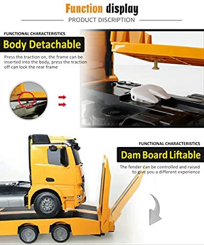 51W6NoL4hAL. AC  - DOUBLE E Mercedes-Benz Licensed RC Tow Truck Detachable Flatbed Semi Trailer Engineering Tractor Remote Control Trailer Truck Electronics Hobby Toy with Sound and Lights