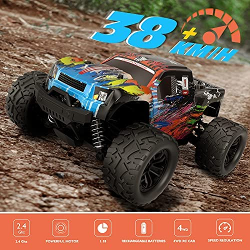 51WsfhigPPS. AC  - Tecnock RC Cars RC Trucks for Kids Adults,1:18 Scale 38km/h 4WD High Speed Remote Control Car,2.4 Ghz All Terrain Remote Control Monster Truck for Boys,2 Batteries for 40 Min Play