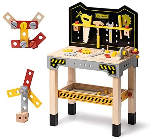 51Yw5iF38JS. AC  - ROBUD Wooden Workbench for Kids Tool Bench Table Construction Tools Preschool Toy Workshop Pretend Play Work Bench for Toddlers