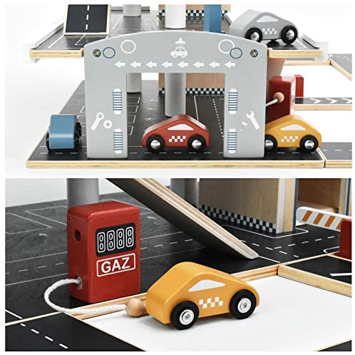 51ayiKoKTvL. AC  - PairPear Wooden Parking Garage Race Track with Toy Vehicles Large Service Station with Elevator Car Wash Petrol Pump Helicopter playset for Kids 3+