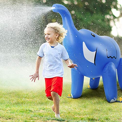 51mLTB6temL. AC  - DG-Direct Water Sprinkler for Kids, 6 Feet Giant Elephant Inflatable Sprinkler, Summer Toys Swimming Party Pool Play Sprayer for Toddler Boys Girls Outdoor Yard Lawn Beach-Blue