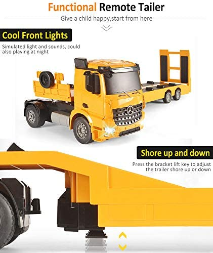 51opmrKOz L. AC  - DOUBLE E Mercedes-Benz Licensed RC Tow Truck Detachable Flatbed Semi Trailer Engineering Tractor Remote Control Trailer Truck Electronics Hobby Toy with Sound and Lights