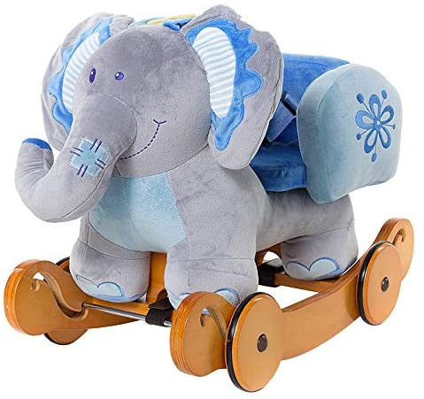 51phcjQywkL. AC  - labebe - Baby Rocking Horse, Plush Rocking Animal, Toddler/Baby Wooden Rocker Toy for Nursery, Ride on Toy for Girl&Boy 1-3 Years, 2 in 1 Rocking Elephant Blue with Wheel, Kid Riding Horse Toys