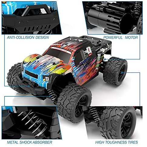 51r+9hZqieS. AC  - Tecnock RC Cars RC Trucks for Kids Adults,1:18 Scale 38km/h 4WD High Speed Remote Control Car,2.4 Ghz All Terrain Remote Control Monster Truck for Boys,2 Batteries for 40 Min Play