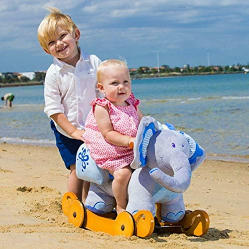 51sm0K0QgSL. AC  - labebe - Baby Rocking Horse, Plush Rocking Animal, Toddler/Baby Wooden Rocker Toy for Nursery, Ride on Toy for Girl&Boy 1-3 Years, 2 in 1 Rocking Elephant Blue with Wheel, Kid Riding Horse Toys