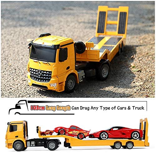 51wZq HkUSL. AC  - DOUBLE E Mercedes-Benz Licensed RC Tow Truck Detachable Flatbed Semi Trailer Engineering Tractor Remote Control Trailer Truck Electronics Hobby Toy with Sound and Lights