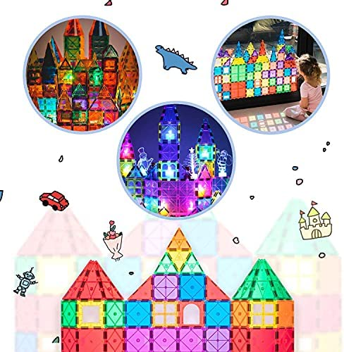 51y4lKMFhqS. AC  - Magnet Toys Compatible Magnetic Tiles Mega Pack with Ferris Wheel and Cars - Magnetic Blocks STEM Learning Building Construction Toddler Kids Toys for 3+ Year Old Boys and Girls