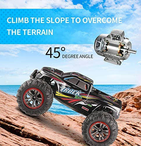 51yKF+Ipz9L. AC  - Hosim Large Size 1:10 Scale High Speed 46km/h 4WD 2.4Ghz Remote Control Truck 9125,Radio Controlled Off-road RC Car Electronic Monster Truck R/C RTR Hobby Grade Cross-country Car (Black)